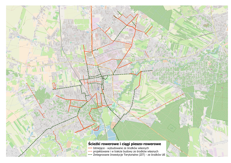 Siatka ścieżek rowerowych powiększona o realizowane inwestycje w ramach ZIT ze środków UE
