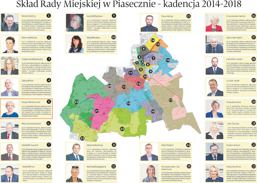 Mapa okręgów wyborczych i wybranych radnych
