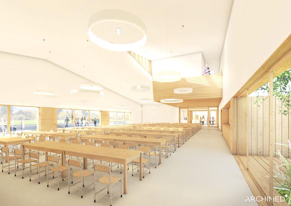 Nowoczesne wnętrza projektowanej szkoły w Julianowie – wizualizacja ARCHIMED