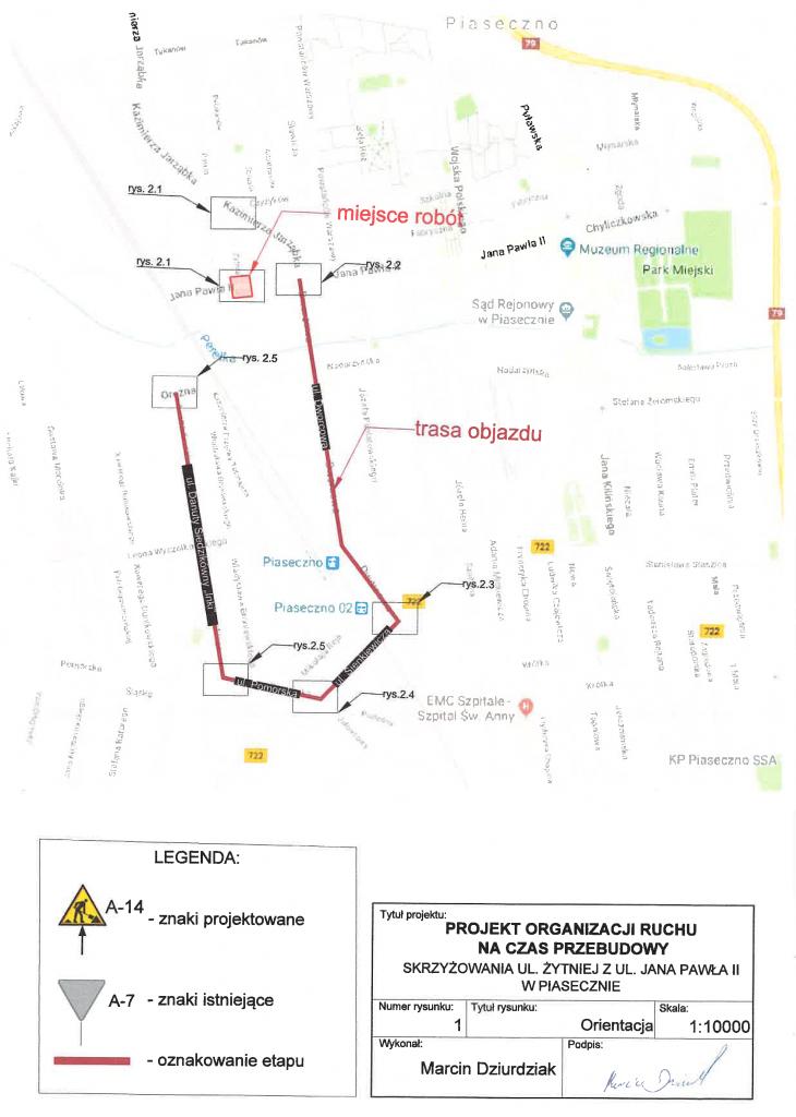 Objazd w związku z zamknięciem skrzyżowania ul. Jana Pawła II i Żytniej