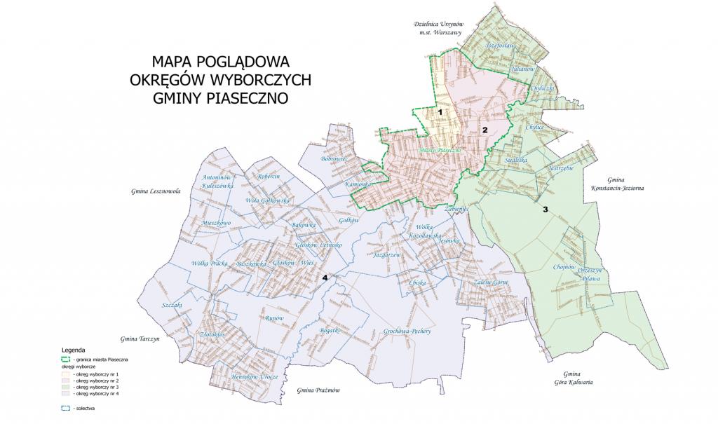 mapa okręgów wyborczych gminy Piaseczno