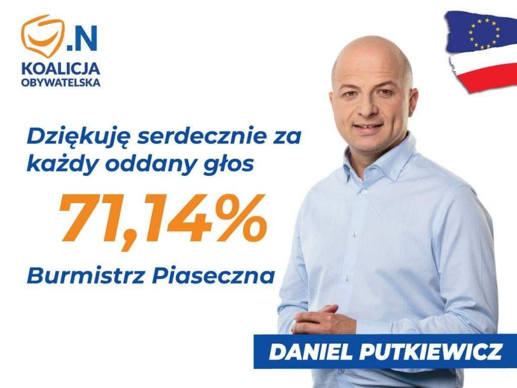 Daniel Putkiewicz Burmistrzem Piaseczna