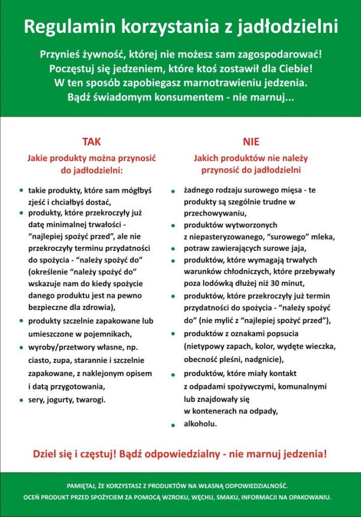 Regulamin Jadłodzielni