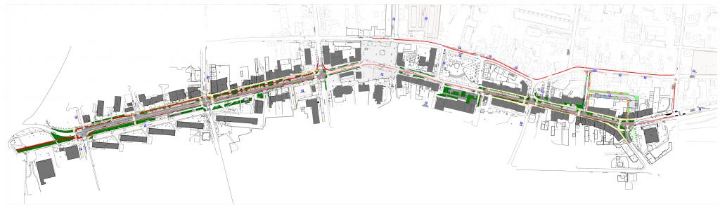 Planowany układ dróg dla rowerów w centrum Piaseczna