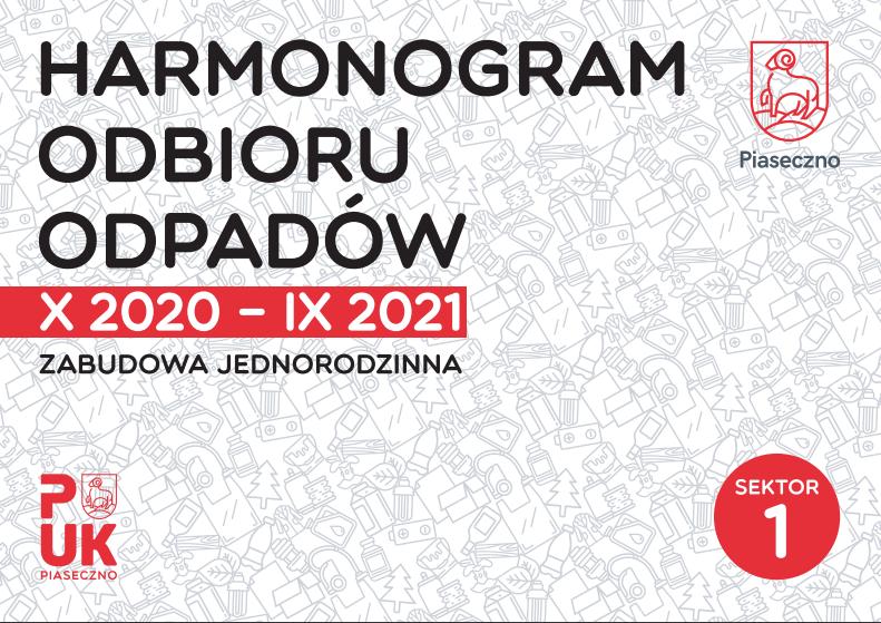 Harmonogramy odbioru odpadów od X 2020 do IX 2021