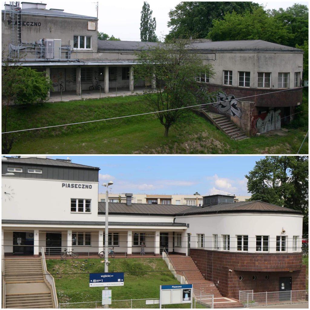 Piaseczyński dworzec PKP przed i po modernizacji