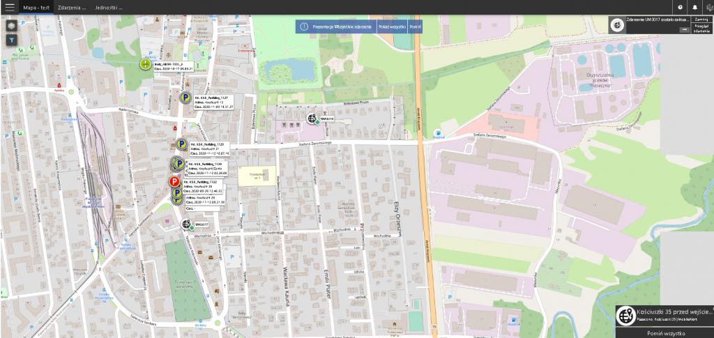 OnCall zrzut ekranu aplikacji gminnego Centrum Dyspozytorskie w Piasecznie