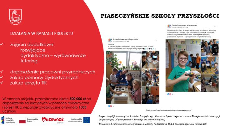 Projekty edukacyjne realizowane ze środków unijnych w latach 2014-2020 w gminie Piaseczno