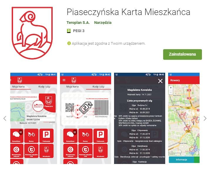 Mobilna wersja Piaseczyńskiej Karty Mieszkańca