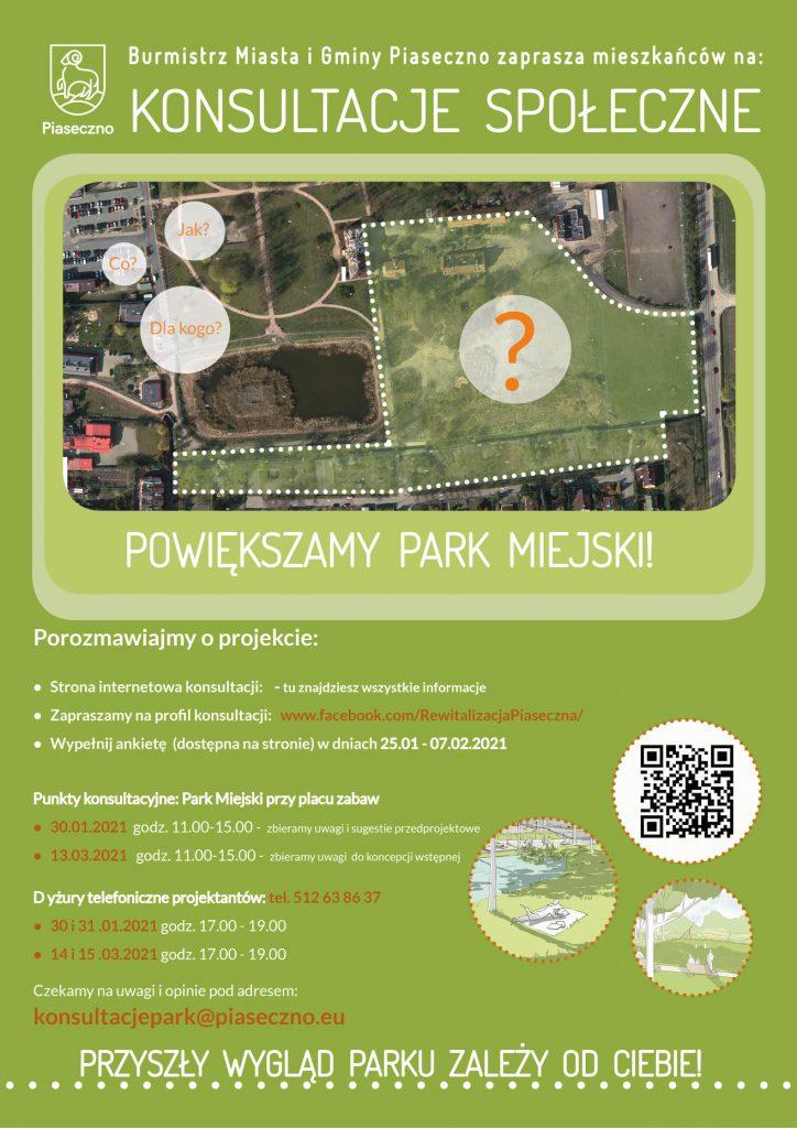 Powiększamy Park Miejski – Burmistrz Miasta i Gminy Piaseczno zaprasza mieszkańców na konsultacje społeczne
