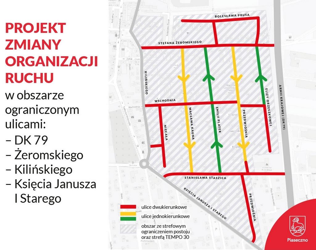 Projekt zmiany organizacji ruchu w obszarze ograniczonym ulicami DK 79 - Żeromskiego - Kilińskiego - Księcia Janusza I Starego w Piasecznie