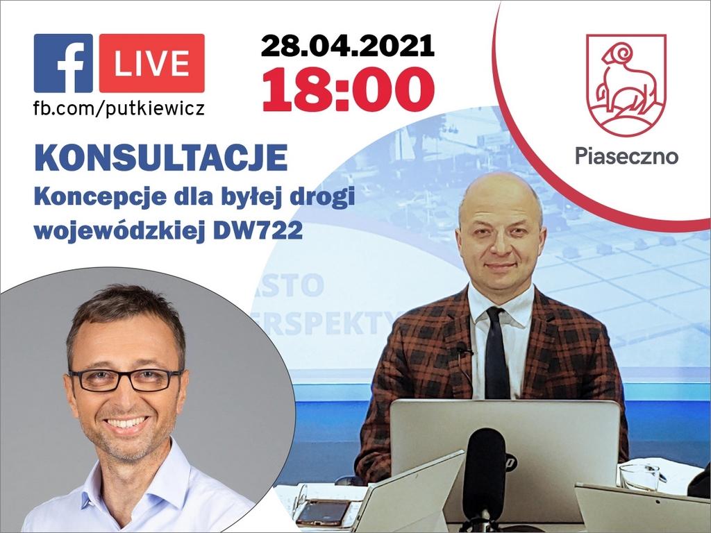 Facebook Live na temat koncepcji dla byłej drogi wojewódzkiej DW722