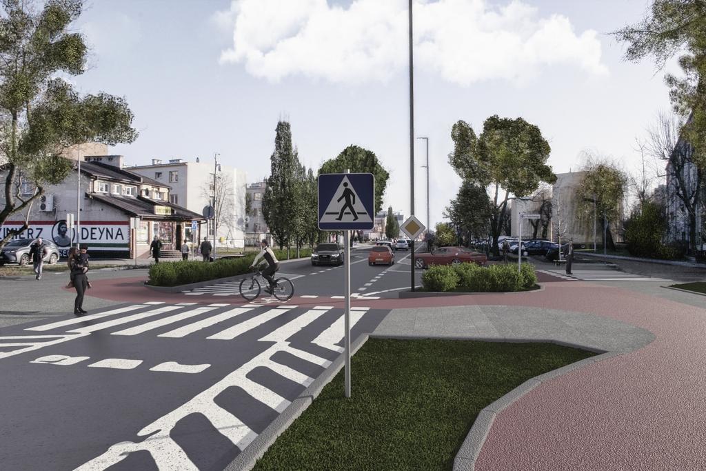Wizualizacja - infrastruktura dla rowerzystów przy ul. Puławskiej w centrum Piaseczna