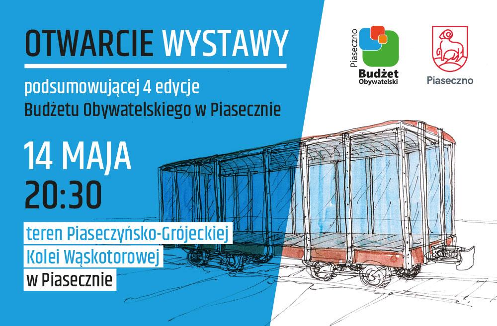 Wystawa Budżetu Obywatelskiego w podświetlonym wagonie na Piaseczyńskiej Kolei Wąskotorowej