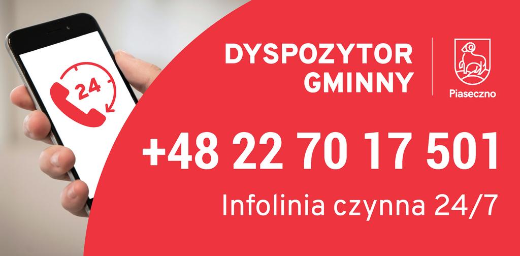 Całodobowa infolinia gminnego centrum dyspozytorskiego w Piasecznie 22 7017501