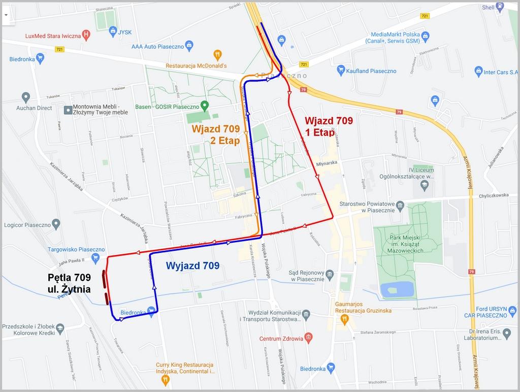 Planowany remont ul. Dworcowej i zmiany trasy autobusu 709